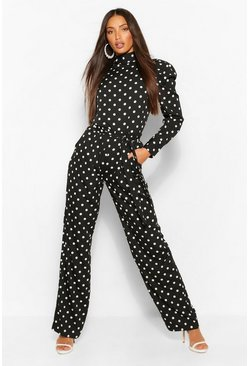 Black Tall Polka Dot Puff Sleeve Blouse