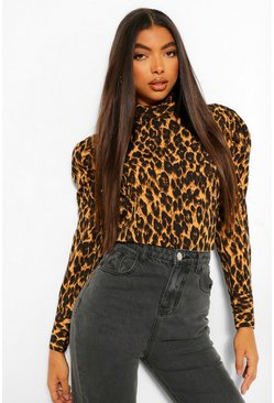 Tall Leopard Print Puff Sleeve Blouse
