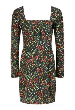 Black Tall Floral Print Mini Dress