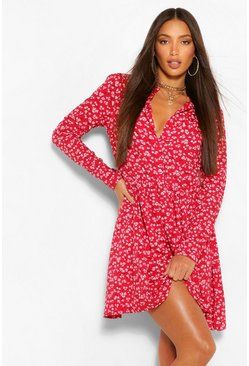 Red Tall Ditsy Floral Skater Shirt Dress