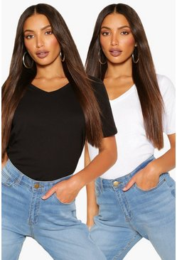 Blackwhite black Tall Basic Cotton 2 Pack V-Neck T-Shirts