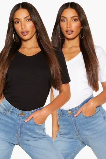Blackwhite black Black Tall Basic Cotton 2 Pack V-Neck T-Shirts
