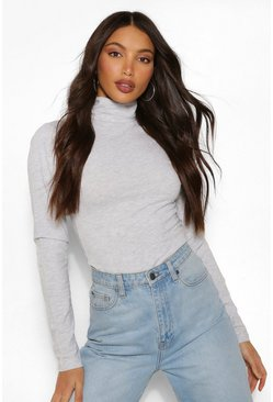 Grey Tall Basic Cotton Roll Neck Long Sleeve Bodysuit