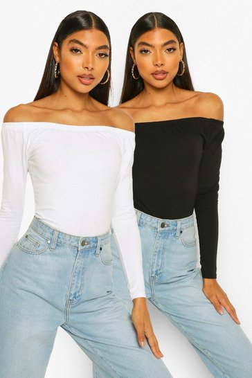 Multi Tall Basic Cotton 2 Pack Off Shoulder Bodysuit Set