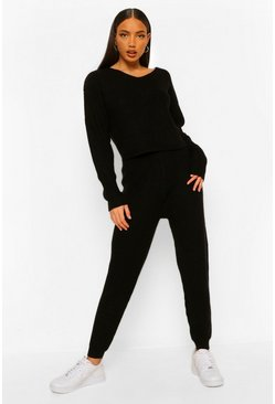 Black Tall Knitted V-Neck Jumper & Jogger Lounge Set