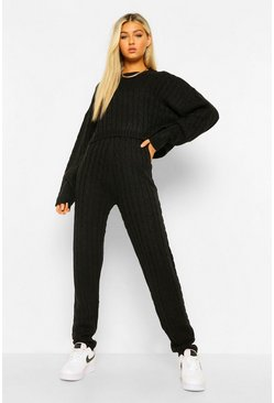 Black Tall Cable Knit Top & Jogger Lounge Set