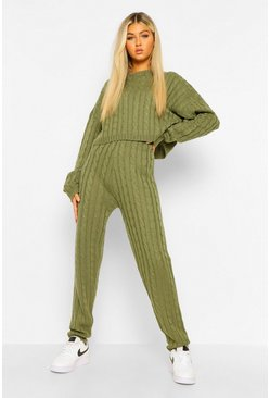 Olive green Tall Cable Knit Top & Jogger Lounge Set