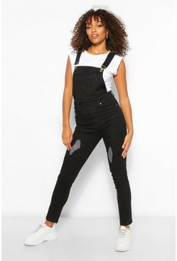 Black Tall Denim Distressed Slim Fit Dungaree