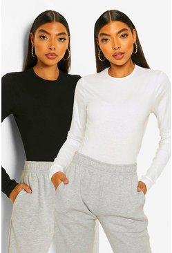 Blackwhite black Tall Basic Cotton 2 Pack Crew Neck Bodysuit