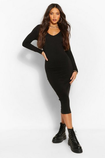 Black Tall Basic Cotton V-Neck Midi Dress