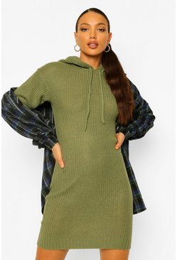 Olive Tall Knitted Hooded Sweat Dress
