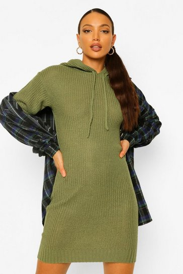 Olive green Tall Knitted Hooded Sweat Dress