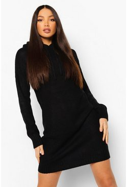 Black Tall Knitted Hooded Sweat Dress
