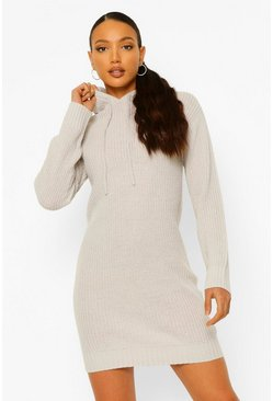 Grey Tall Knitted Hooded Sweat Dress