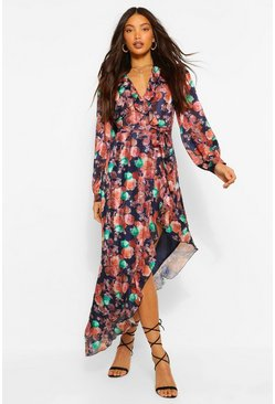 Orange Tall Woven Floral Ruffle High Leg Maxi Dress