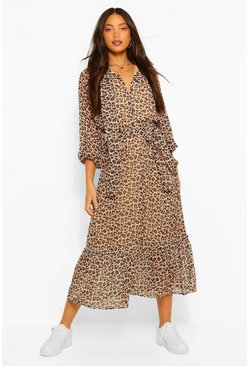 Brown Tall Woven Leopard Balloon Sleeve Midaxi Dress