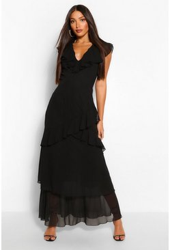 Black Tall Woven Plunge Ruffle Maxi Dress
