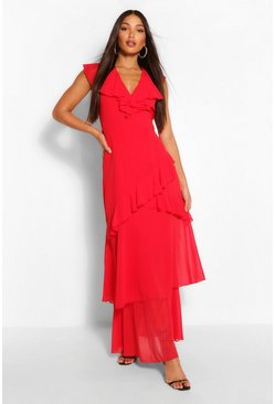 Red Tall Woven Plunge Ruffle Maxi Dress