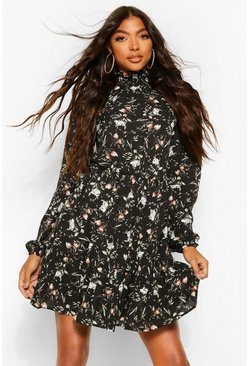 Black Tall Floral Print High Neck Woven Skater Dress