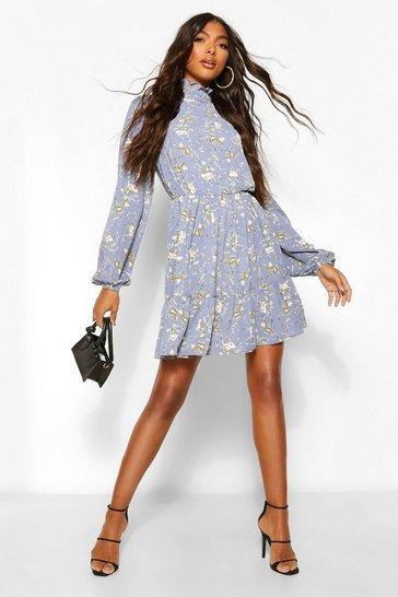 Blue Tall Floral Print High Neck Woven Skater Dress