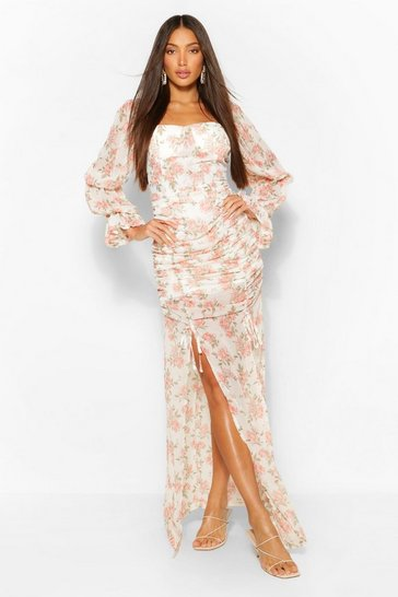 White Tall Floral Ruched Front Split Leg Woven Maxi Dress