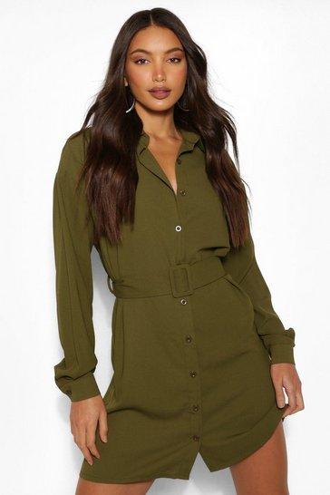 Khaki Tall Belted Button Down Woven Shirt Dress