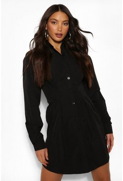Black Tall Button Down Pleated Woven Shirt Dress