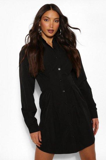 Black Tall Button Down Pleated Woven Shirt Dress