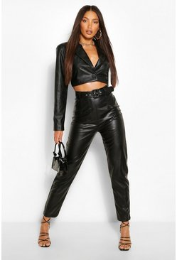 Black Tall Leather Look Belted Straight Leg Trousers