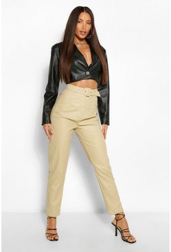 Sand Tall Leather Look Belted Straight Leg Trousers