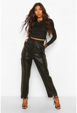 Black Tall Leather Look Split Front Slim Fit Trousers