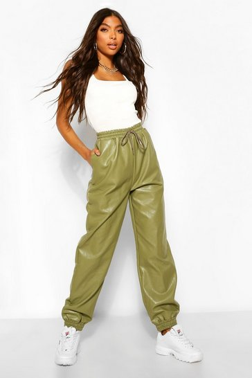 Khaki Tall Leather Look Tie Waist Pocket Side Joggers