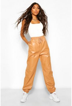 Tan brown Tall Leather Look Tie Waist Pocket Side Joggers