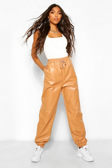 Tan brown Brown Tall Leather Look Tie Waist Pocket Side Joggers