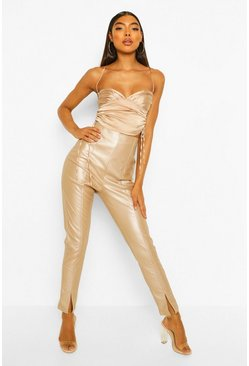 Beige Tall Leather Look Split Front Skinny Trousers