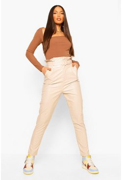 Nude Tall Paperbag Waist Leather Look Slim Fit Pants