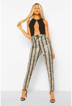 Grey Tall Leather Look Snake Print Lace Up Skinny Trouser