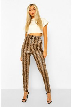Tan brown Tall Leather Look Snake Print Lace Up Skinny Trouser