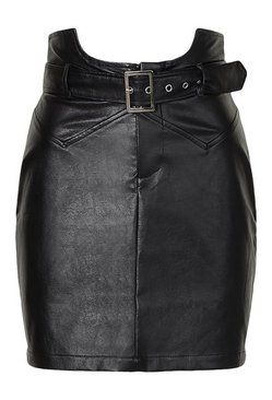 Black Tall Leather Look Waist Detail Belted Skirt