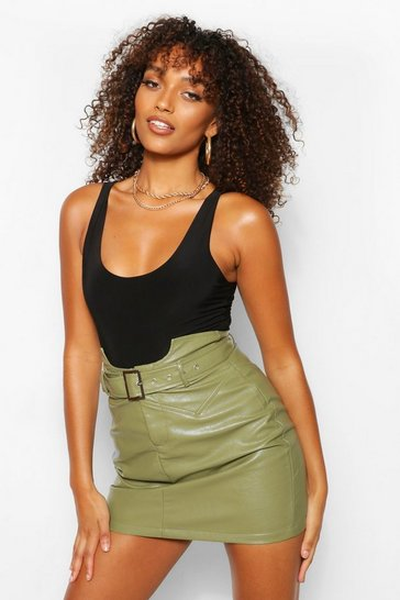 Khaki Tall Leather Look Waist Detail Belted Skirt