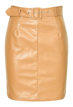 Nude Tall Leather Look Belted Skirt
