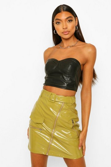 Olive green Tall Vinyl Zip Front Belted Skirt
