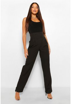 Black Tall Pleated High Waist Straight Leg Trousers