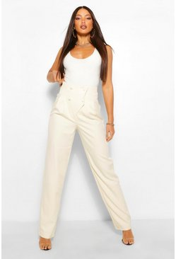 Cream white Tall Pleated High Waist Straight Leg Trousers