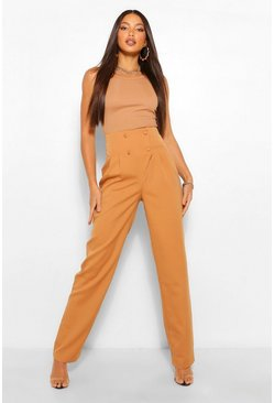 Tan brown Tall Pleated High Waist Straight Leg Trousers