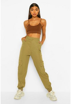 Khaki Tall Relaxed Cargo Trousers