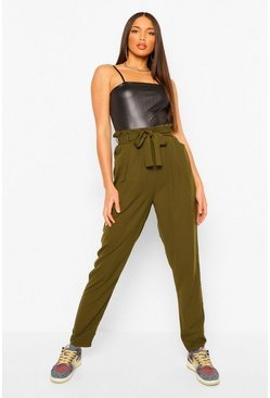 Khaki Tall Paperbag Waist Straight Leg Trousers