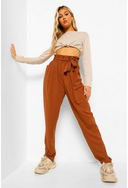 Tan brown Tall Paperbag Waist Straight Leg Pants