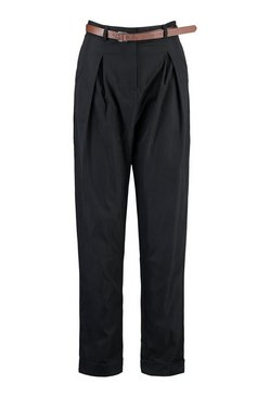 Black Tall Turn Up Belted Pleat Front Trousers