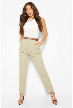Sage green Tall Turn Up Belted Pleat Front Trousers